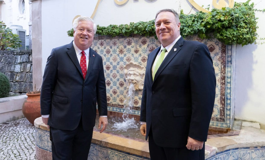 Secretary of State Mike Pompeo with the Director of the Bureau of Overseas Buildings Operations, Will Moser
