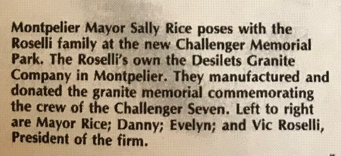 Caption for the newspaper photo of the Roselli family